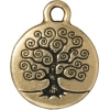 Charm Tree Of Life 15mm Antique Gold